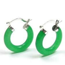 Genuine Dark Green Jade 925 Silver Click Hoop Earrings 25mm or 30mm