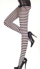 Music Legs 7471 Tights Striped Opaque Pantyhose Reg or XL Queen Black & White