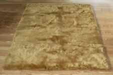TAN FAUX FUR SOFT SHAG RUGS SOFTEST PLUSH FIBERS AND NON SLIP BACKING