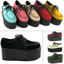"LADIES HIGH PLATFORM WOMENS TRENDY RETRO FLAT TRIPLE CREEPER 3"" SHOES BOOTS SIZE"