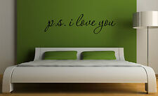 PS P.S. I LOVE YOU Inspirational Decal Wall Decor Quote Vinyl Sticker Art Decor
