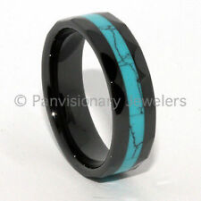 Black Ceramic Ring Turquoise Dyed Inlay Wedding Band Fashion Ring 8mm Faceted