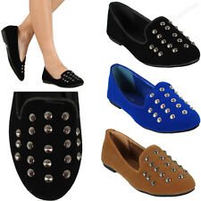 New Womens Studded Shoe Small Flat Spike Fashion Stud Oxford Style Loafers Size
