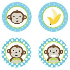Mod Monkey Boy {Blue} Edible Cupcake Toppers Decoration
