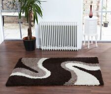 Sienna Shaggy Ripple Rug Chocolate Brown in Various Sizes
