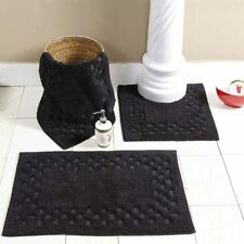 Homescapes Black Washable Cotton Check Bath Mats Rugs Mat Bathroom Sets