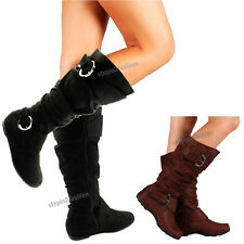 Womens Boots Knee High Faux Suede Flat Boot Fashion Slouch Stylish Shoes Size