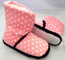 Ladies Girls Cosy Boot Slippers Pink Stars Machine Wash Size 3 - 8 FREE POST UK