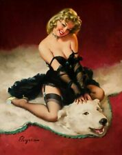 Vintage Pin-Up Girl Bear Facts Elvgren PINUP240 Print Poster Canvas A4 A3 A2 A1