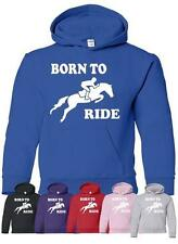 Born To Ride Horse Riding Horse Pony Girls Boys Hoodie Hoody  Age 5-13