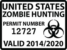 "Zombie Hunting Permit Individually Numbered Outbreak Team Decal (5""  Biohazard)"