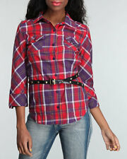 NWT Women's Luxirie by LRG Button Down Woven Shirt w/ Belt- MEDIUM & LARGE