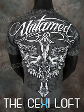 NEW MENS Charcoal UNTAMED UFC MMA GRAPHIC T-SHIRT Winged Crosses