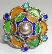 Large SILVER & Colored Enamel Moroccan Berber Ethnic Tribal RING 1- Hand Made
