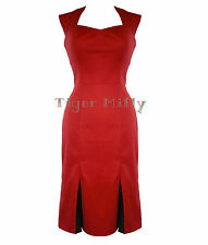 H&R LONDON 50's WIGGLE pencil PLEAT DRESS burlesque RED
