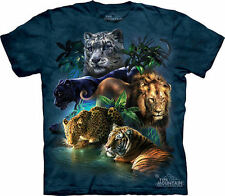BIG CATS JUNGLE -Blue-Green T-Shirt - The Mountain Classic Tie-Dyed Tee -10-3315