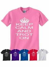 Keep Calm and Trot On Horse Riding Pony Kids Girls Boys Funny T-Shirt Age 1-13