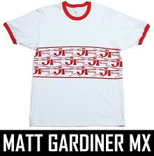 JT RACING all over T-SHIRT TEE motocross mx short sleeve mens white red retro