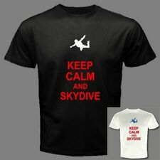 KEEP CALM AND SKYDIVE skydiving parachute skydiver BLACK OR WHITE T-SHIRT C75