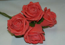 60 FOAM ROSES Mix n Match colours  Coral ARTIFICIAL WEDDING FLOWERS .DECORATION