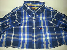 NWT Hollister Mens Orange County Long Sleeve Blue Plaid Button Shirt Sz M or L