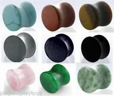 PAIR - Solid Organic Natural Stone Flared Saddle Ear Plugs Flesh Tunnels Guage