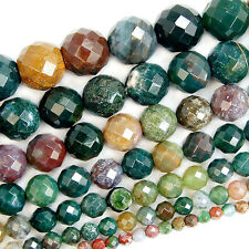"Faceted Natural Colorful Indian Agate Round Beads 15"" 4 6 8 10 12 14 16mm"