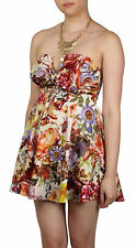 Flower print Bow Front boobtube skater dress