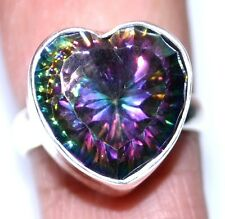 Fire Mystic Topaz Heart Rings Purple Green Gemstone 925 Sterling SILVER Ring NEW
