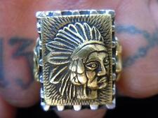 Large Mexican Novelty Biker Indian Head Ring Rockabilly Vintage Style 1940s 50s