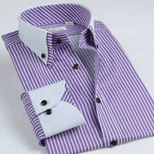 Stripes pattern double white collar and cuff men's long sleeve shirt