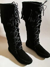 NEW WOMENS ULTRA-SMART BLACK BOOTS SIZE: 5-10  W/LACE ZIPPER SELF FRINGE ON TOP