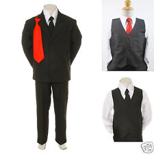 Baby Toddler Boy Wedding Formal Party Graduation Black Tuxedo Suit S M L XL- 20