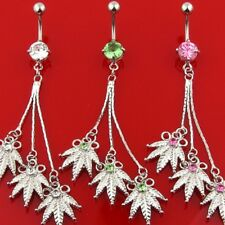 POT LEAF BELLY NAVEL RING MARIJUANA DANGLE GEM CZ BUTTON PIERCING JEWELRY B226