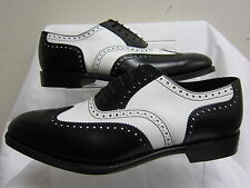 Mens Loake 1880 Black & White Leather Lace Up Formal Brogue Shoes SLOANE