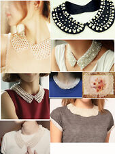 Vintage Handmade Pearl Celeb Beaded Bling Detachable Faux Collar Pan Necklace