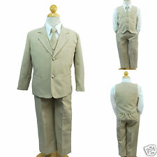 Khaki New Baby Toddler & Boy Formal Wedding Tuxedo Suit  S- 2T 3T 4T 5 6 7 -20