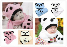 Cute winter Cartoon Panda Pattern Warm Hat + Scarf Set for baby toddler (Unisex)