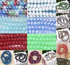 8mm Faceted Abacus Rondelle Glass Loose Beads Jewelry Making DIY Finding