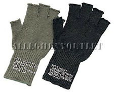 G.I. Military FINGERLESS WOOL GLOVES - Black or Olive Drab - FREE SHIPPING