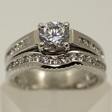 Silver Wedding and Engagement Ring Set cz Various Sizes