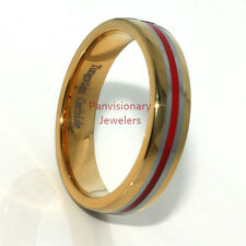 Thin Red Line 6mm Tungsten Ring Wedding Band 18K Gold IP w Red Resin Inlay