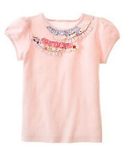 Gymboree Love is in the Air pink floral ruffle trim s/s shirt top NWT