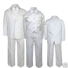 New Boys Wedding Communion Formal bowtie Tuxedo Suit 0-24M,2 3 4 5 6 7-20 WHITE