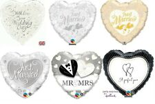 """18"""" Heart Shaped Foil Helium Balloon Just Married Wedding Day - Lots of designs"""