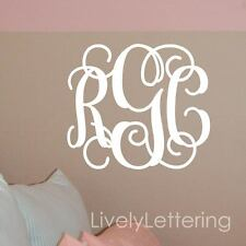 14x16 MONOGRAM wall decal Custom INITIALS vinyl wall monogram lettering (W00931)