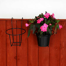 Garden fence metal plant pot holders easy fill black flower pot holder