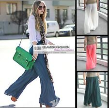 Chiffon Palazzo Pants Slacks Split Skirt 25 colors XS~3XL GLM #GF0433 Free p&p