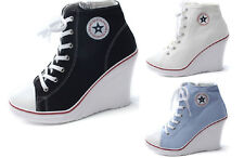 Luckydeliver women Wedge shoes sneakers canvas lace up high top heel shoes