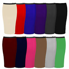 New Womens Ladies Jersey Elasticated Pull Up Pencil Bodycon Office Skirt 8-14